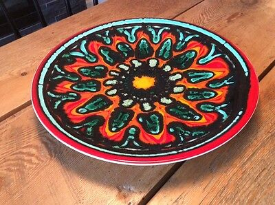 """Huge Mid Century Poole Pottery England 14"""" Delphis Charger Plate Bowl"""