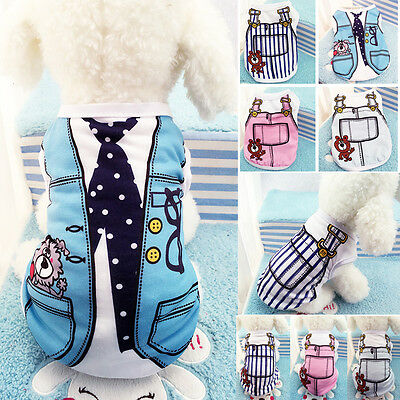 Summer Dog Cat Clothes Puppy Cotton T-Shirt Vest Tops Coat Pet Apparel Costumes