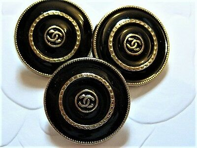 LOT OF 3 CHANEL ROUND BLACK ENAMEL GOLD METAL BUTTONS , 20mm