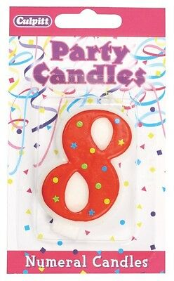 2 x Culpitt - Coloured Party Birthday Candles Cake Cupcake Candle Number 8
