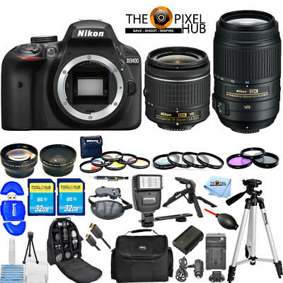 Nikon D3400 DSLR Camera W/ 18-55mm VR & 55-300mm ED VR! 2 LENS MEGA BUNDLE NEW