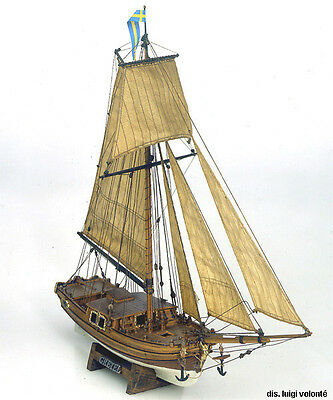 "Unique, Detailed Wooden Model Ship Kit by Mamoli: the ""Gretel"""