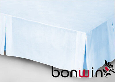 Pure Cotton 1000Tc King Bed Valance Bed Skirt Linen Pale Blue