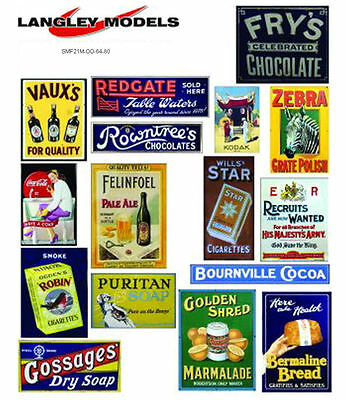 Street ads large Paper Copies Old Enamel Signs Decals O Scale SMF22n