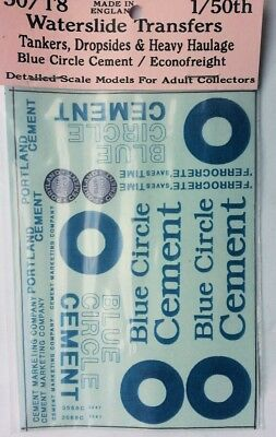 Blue Circle Cement O Scale 1:50 Waterslide Transfers 50-T8