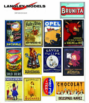 European Adverts large Paper Reproductions Old Enamel Decals O Scale SMF23n