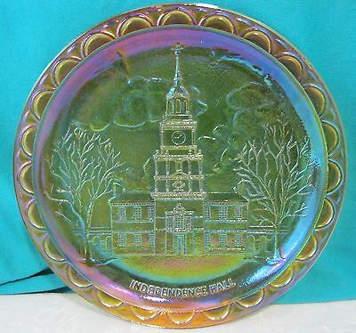 """1776 Indiana Gold Carnival Glass Bicentennial Independence Hall Plate 8"""" #1965"""