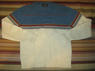 Vintage 70's Puritan Crew Neck Striped Wool Blend Men's Sweater USA Made! Size M