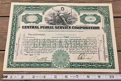 Antique 1931 Central Public Service Corporation Class A Stock 2 Shares Maryland