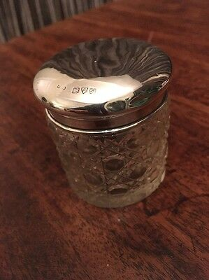 Beautiful Antique Glass Pot With Silver Lid