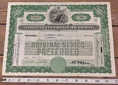 Antique Associated Gas And Electric Co 70 Shares Preferred Stock 1939 New York