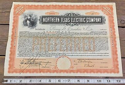 Antique Northern Texas Electric Company Preferred Stock 1926 10 Shares Maine