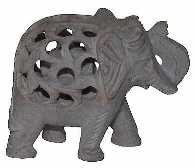 Indian Hand Carved Soap Stone Elephant with Trunk Up with Baby Figurine Inside