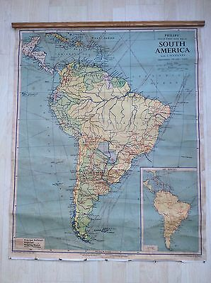 Vintage 1964 Drop Down School Map of South America by Philips, London