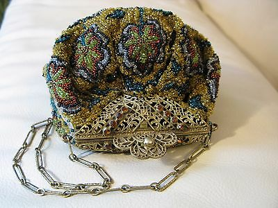 Antique Amber Jewel Filigree Frame French Steel & Glass Bead Puffy Purse MINT