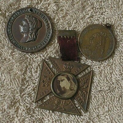 Collection Of 3 X Queen Victoria Medals.