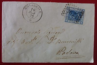 Italy Kingdom 1872 Travelled Cover from Monselice - 2C+Numeral Mark 2627