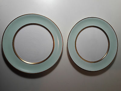 """Vintage 2 Pope Gosser China Spring Plates and White Gold Trim 6 1/4"""" 56"""