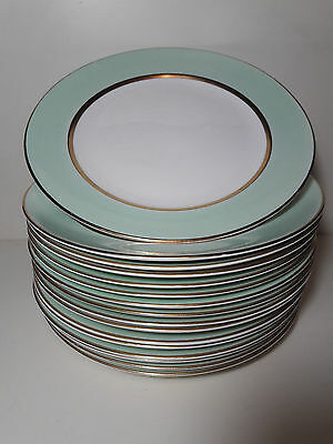 """Lot Vintage Set of 4 Pope Gosser China Spring Plates and White Gold Trim 9"""""""