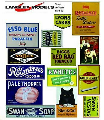 Langley Models Shop signs Sml Paper Copies of old Enamel Signs N Scale SMF14n