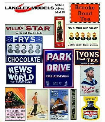 Langley Models Station ads Sml Paper Copies of old Enamel Signs N Scale SMF17n