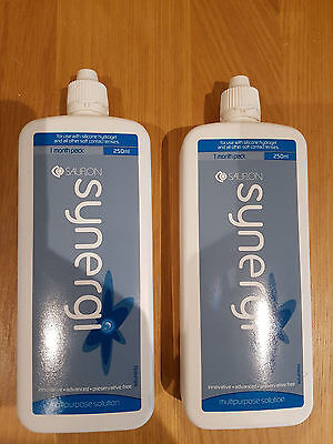 2x SYNERGI Contact Lens Multipurpose Solution Preservative Free 250ML NewSealed