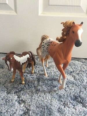 Plastic Toy Horses With Hair Set Of 2