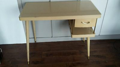 Retro vintage table from hairdressers 1950's buff formica top.