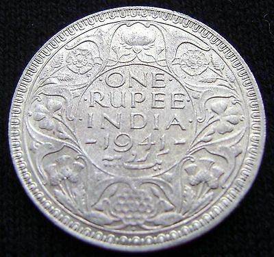 British India One Rupee, 1941 B Uncirculated Silver