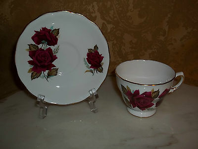 Ridgway Pottery Royal Vale Flowers/Pink Roses Teacup/Tea Cup & Saucer