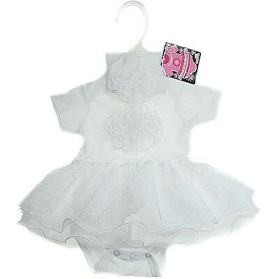 Stunning Baby Girls Romany Style White Frilly Lace Tutu Bodysuit & Headband Set
