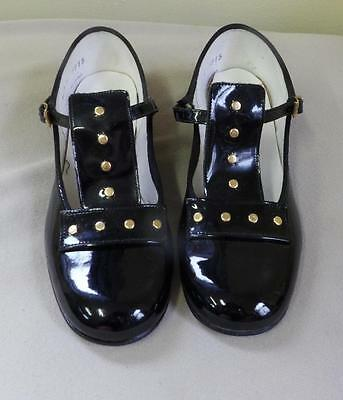 Fab Retro Vtg Black Patent Leather Gold Studs Girls Dress Party 5915 Shoes New