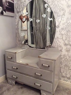 Pale French Grey Shabby Chic Dressing Table & Mirror