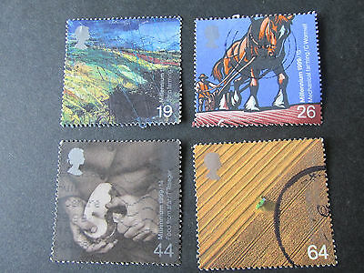 """Set of 4 used GB Stamps """" The Farmers' Tale """" issued 7 September 1999"""