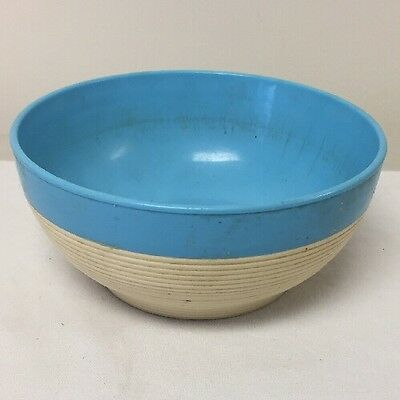 Teal Blue Rim Raffiaware Thermo-temp Plastic Cereal Fruit Bowl Kitchenware*
