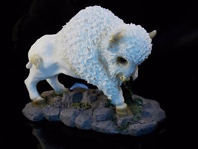 White Bison Animal Statue Decor Wildlife Buffalo Figurine Sculpture Home Decor