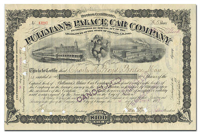 Pullman's Palace Car Company Stock Certificate, Signed by General Horace Porter