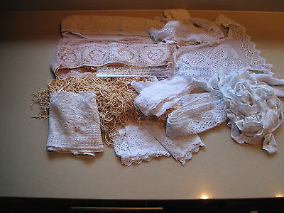 485 grams vintage lace pieces embroidery crochet edges trims some hand made lace