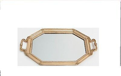 ZARA HOME new Gold Vintage Ornate Antique Shabby Chic Mirrored Trinkit Tray