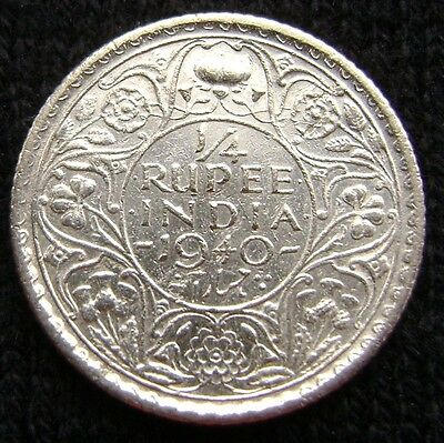 British India 1/4 Rupee, 1940 C Uncirculated Silver