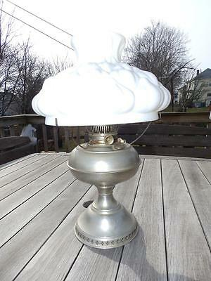 Antique Rayo Nickel Table Kerosene Oil Lamp w/ Quilted Shade