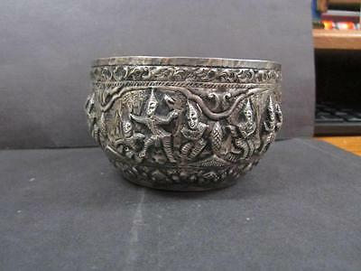 Antique Silver Tin Metal Indian Or Burmese  Storyteller Repousse Bowl