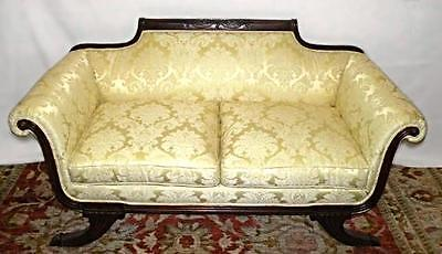 Empire Style Mahogany Settee Damask Silk Upholstery Sofa Chaise Loveseat Couch