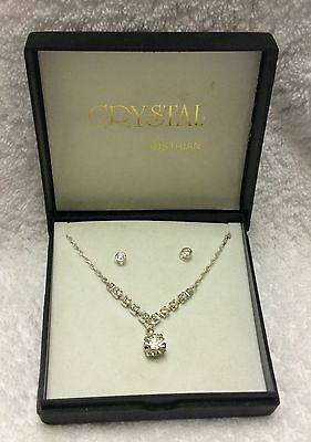 Austrian Crystal Jewellery Set Stud Earrings And Necklace
