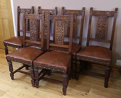 Set of Six Antique 19th Century Jacobean Style Dining Chairs