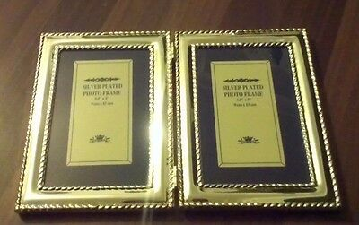 """Vintage Double Folding Silver Plated Photo Frame ~ Holds Photos 3.5"""" X 5"""""""