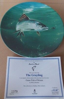 "Danbury Mint Royal Worcester Plate ""the Grayling"" Game Fish Of Britain."