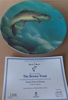 "Danbury Mint Royal Worcester Plate ""the Brown Trout"" Game Fish Of Britain."