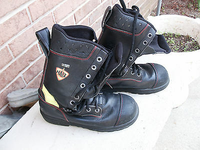 Fire Fighter Safety Toe Boots: HAIX- Germany; Marked 40 2051921W - Used