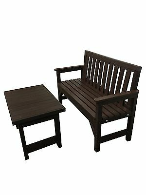 Seat Bench Home  Garden With Coffee Table Brown  2 Seater 100% Recycled Plastic